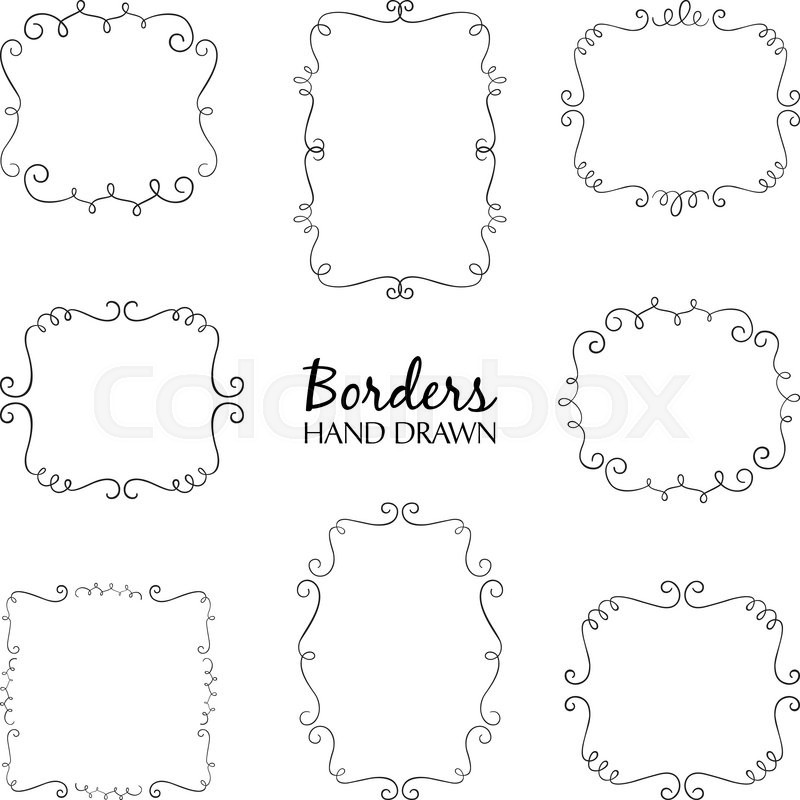 800x800 Vector Illustration Of Hand Drawn Borders Set. Collection Of