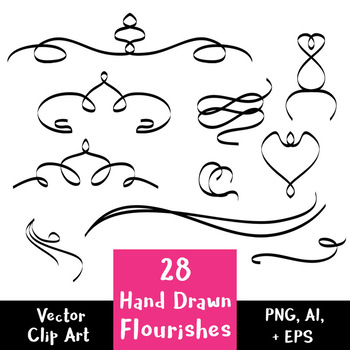 350x350 28 Hand Drawn Flourishes Vector Text Dividers Decorative