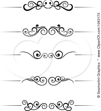 407x450 Clipart Black And White Flourish Borders Digital Collage 6