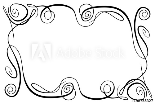 500x334 Flourish Vector Frame. Rectangle With Squiggles, Twirls And