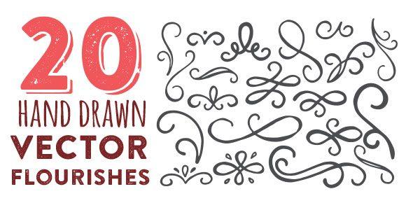 580x290 Freebie Hand Drawn Vector Flourishes