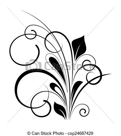 417x470 Swirl Flourish Vector Design Shape. Abstract Retro Black Shape