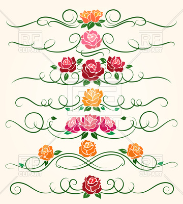 360x400 Decorative Flourish Borders And Rose Flower Dividers Vector Image