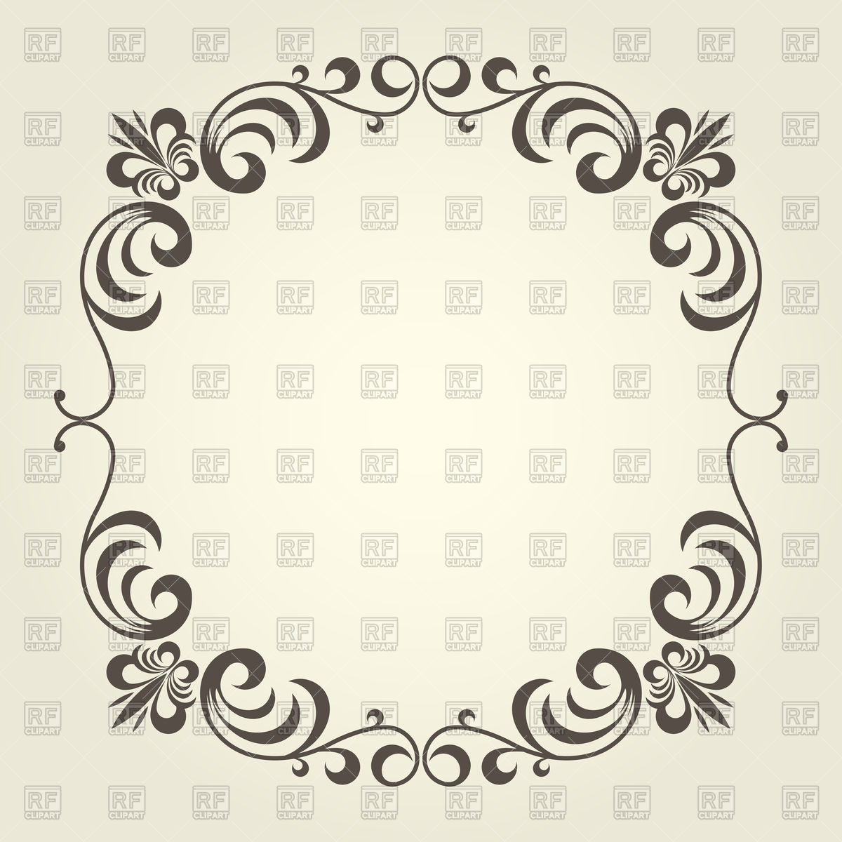 1200x1200 Flourish Square Frame With Ornate Curly Borders Vector Image