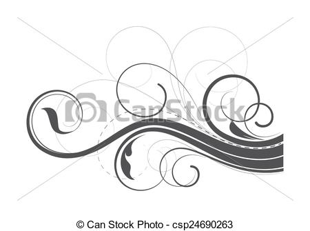 450x335 Flourish Swirl Elements. Abstract Ornate Swirl Flourish Element