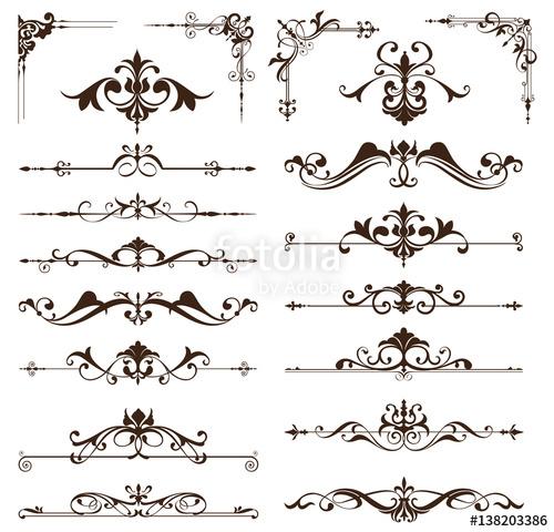 500x480 Art Deco Design Elements Of Vintage Ornaments And Borders Corners
