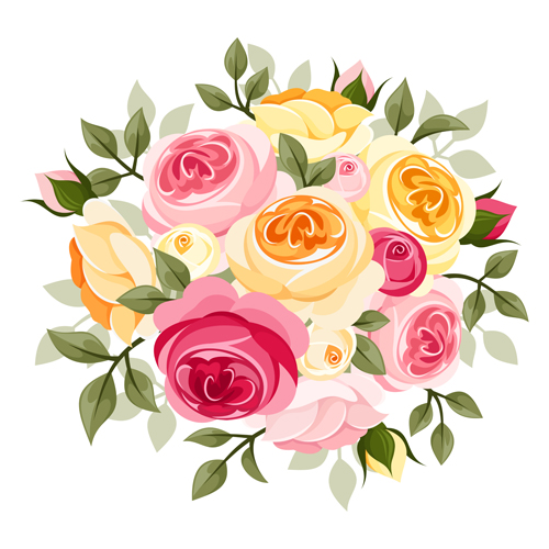 500x500 Elegant Flowers Bouquet Vector 04 Free Download