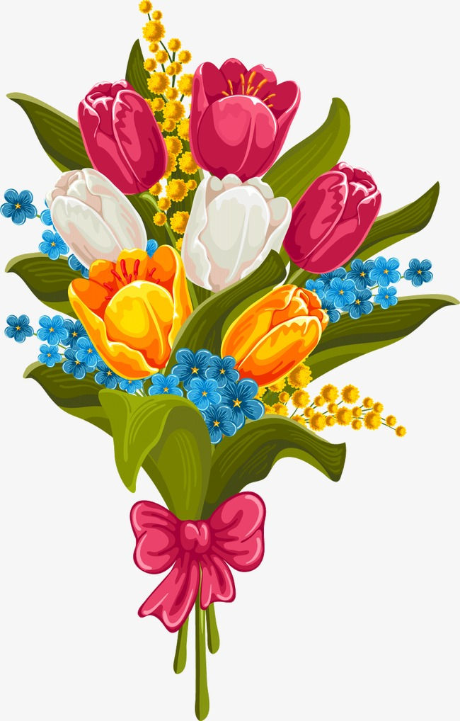 650x1018 Beautiful Bouquet Of Tulips Vector Material, Flowers, Bouquet