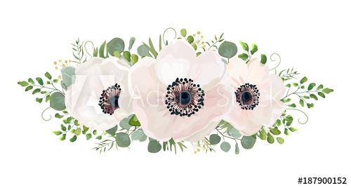 500x268 Flower Bouquet Vector Watercolor Design Element. Peach, Pink White