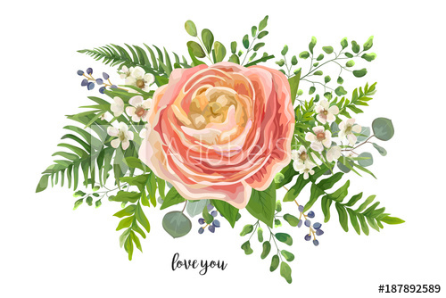 500x334 Flower Bouquet Vector Watercolor Element. Peach, Pink Rose
