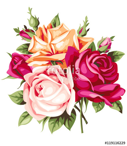 434x500 Vintage Bouquet. Vector Decorative Roses Stock Image And Royalty