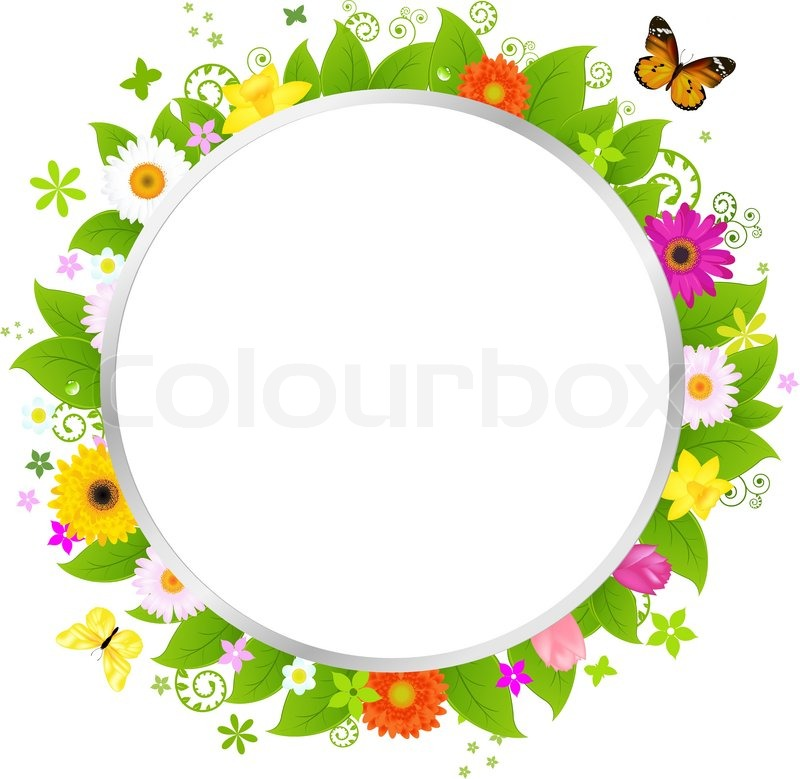 800x779 Circle With Flowers Stock Vector Colourbox