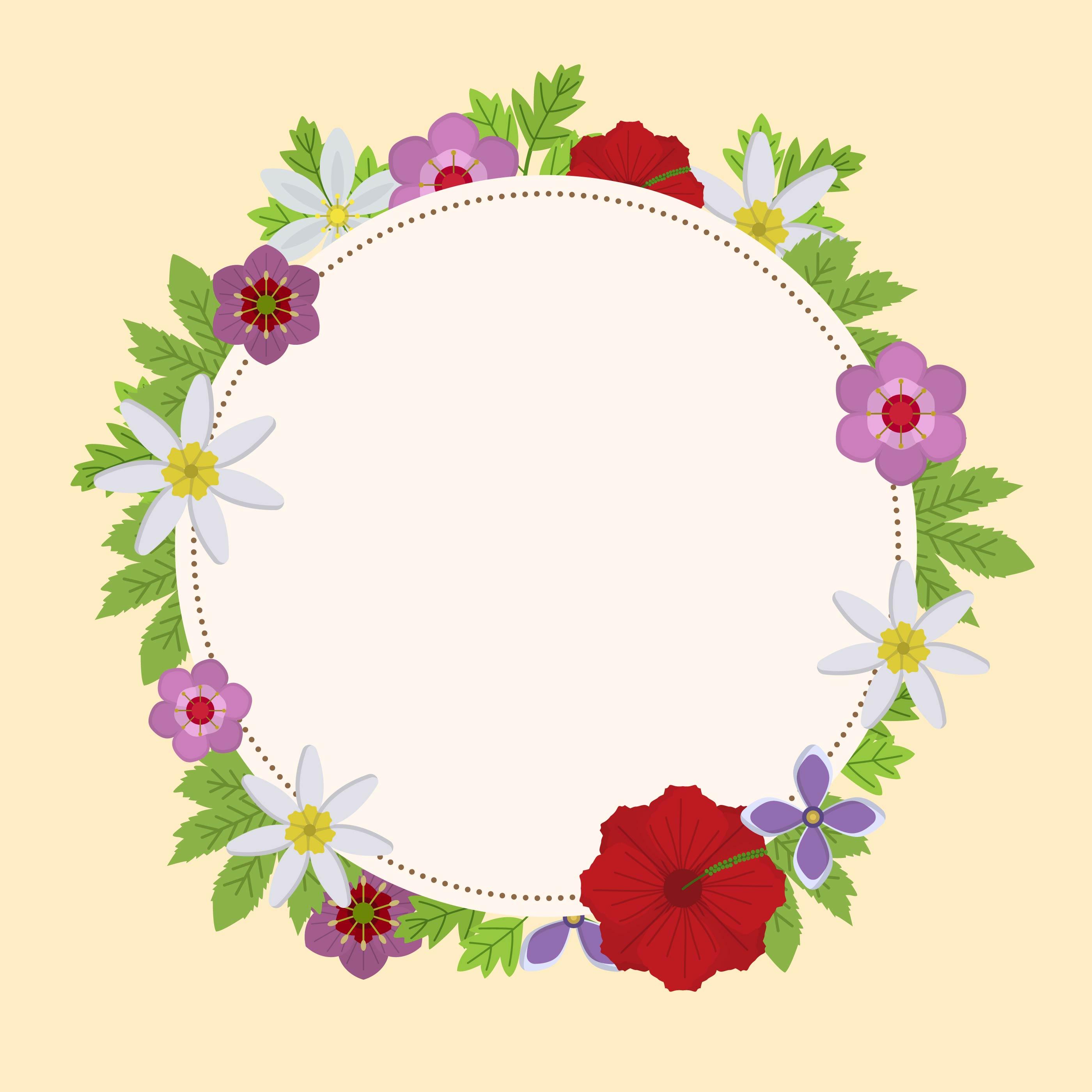 2800x2800 Floral Circle Free Vector Art