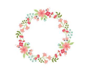 340x270 Floral Wreath Clipart