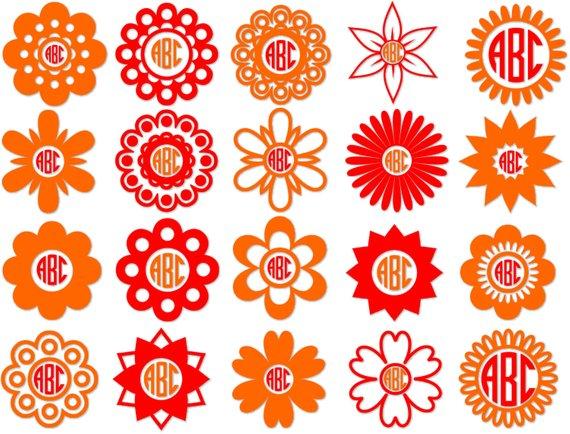 570x434 Flower Circle Monogram Frames Flower Cut Files Flower Svg Etsy
