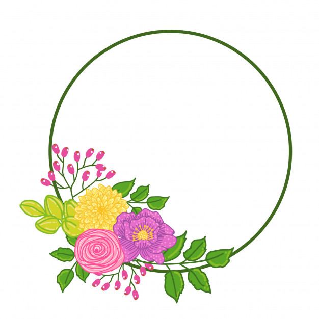 626x626 Flower Circle Template Text Spring Vector Premium Download