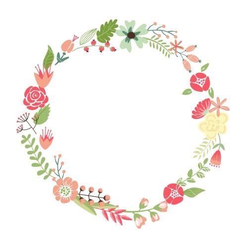 500x500 Leaf Wreath Vector Floral Frame Cute Retro Flowers Arranged Un A