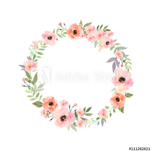 500x500 Vector Watercolor Flowers Frame. Elegant Floral Collection With
