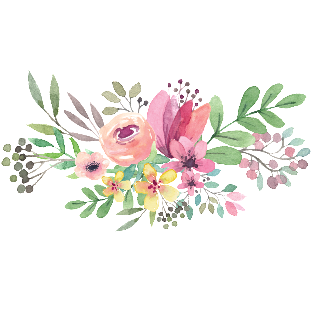 1024x1024 Watercolor Flower Circle Png