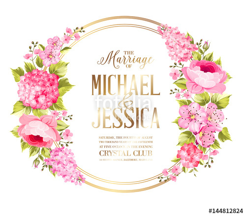 500x440 Wedding Invitation Card With Rose Flowers. Vintage Wedding