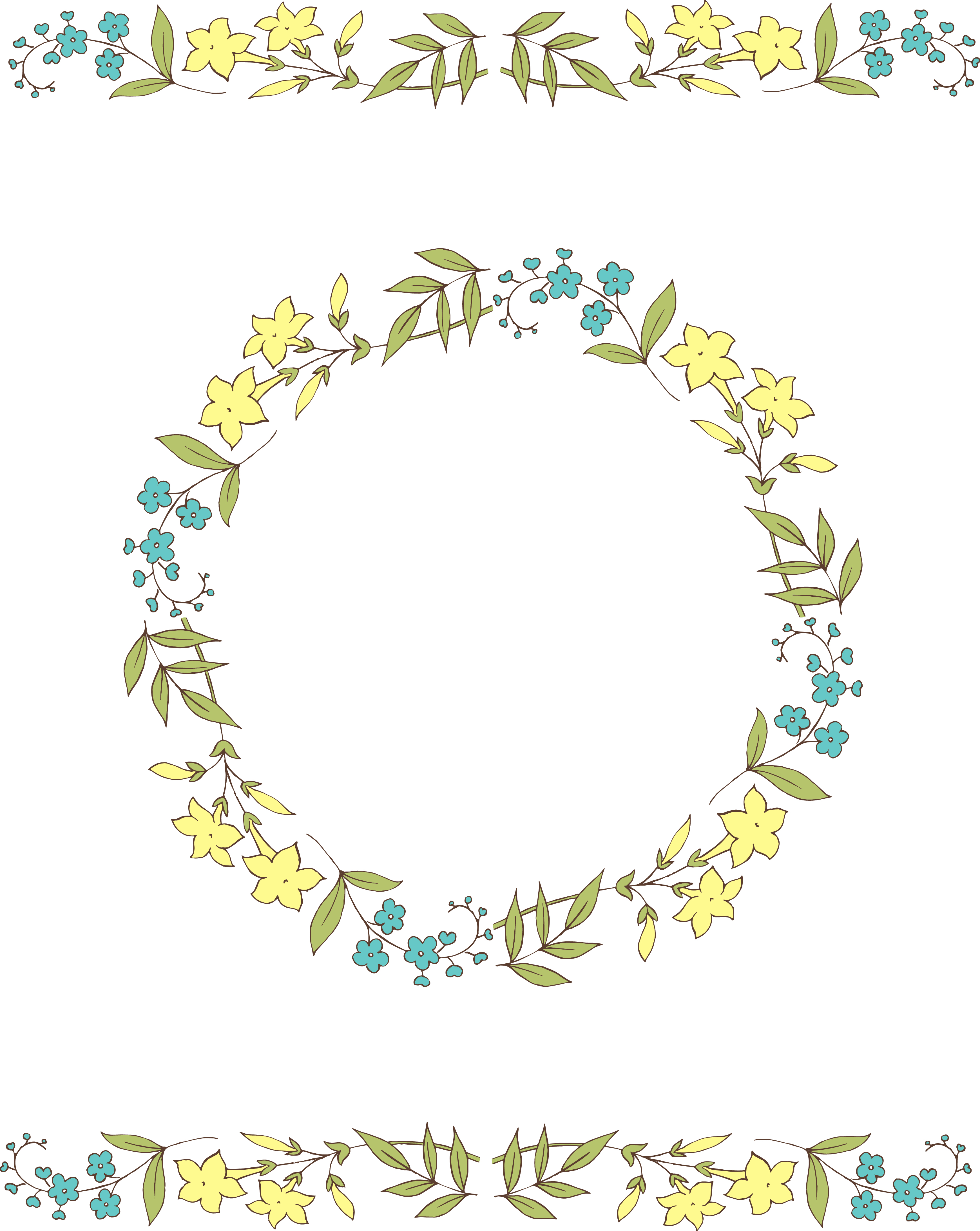 3481x4374 Circle Vector Flowers Clipart
