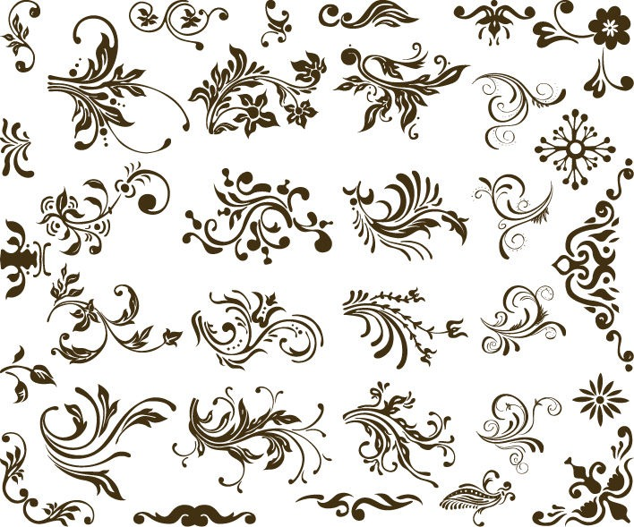 708x589 Modern Style Floral Design With Set Of Vector Floral Design Free