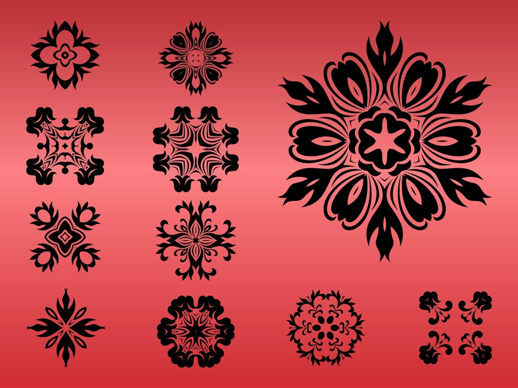 1024x768 Round Floral Designs Vector Art Amp Graphics