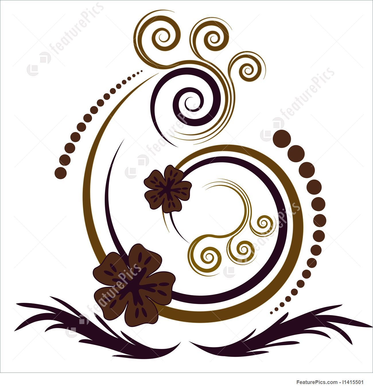 1300x1360 Beautiful Abstract Vector Floral Design Stock Illustration