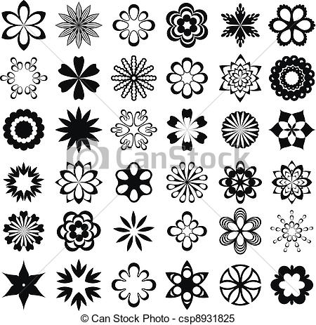 450x463 Set Of Graphical Flower Elements. Set Of Flower Design Elements.