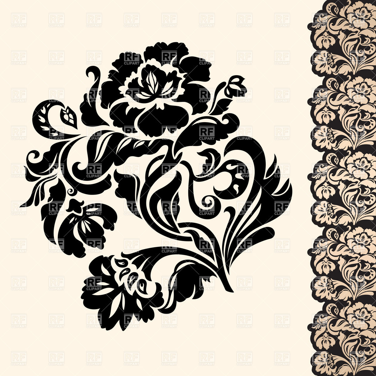 1200x1200 Victorian Floral Design Element With Lacy Border Vector Image
