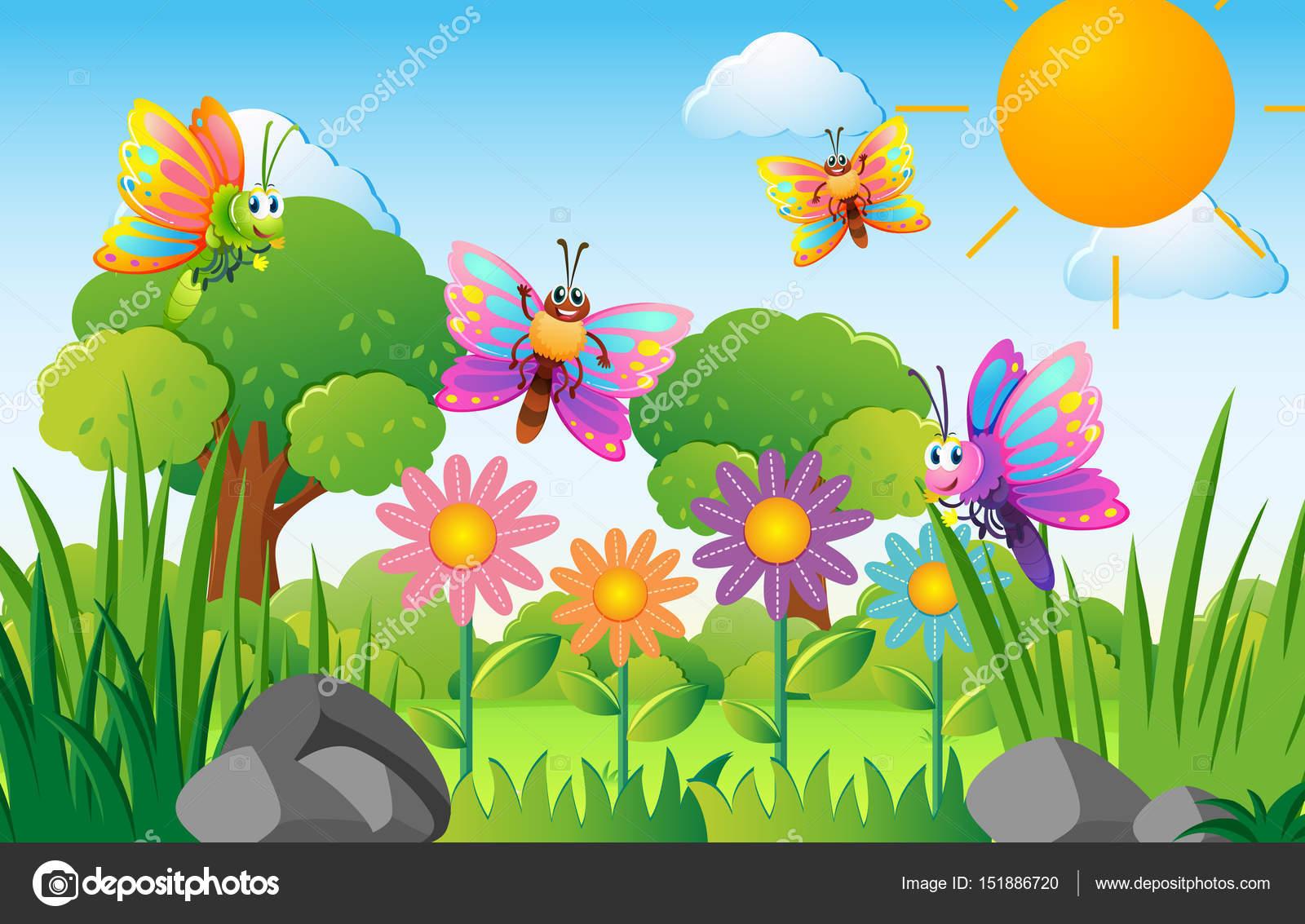 1600x1133 Butterflies Flying In Flower Garden Stock Vector Brgfx 151886720