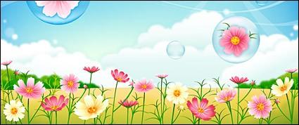 425x178 Flower Garden Vector Landscape Free Vector Free Download