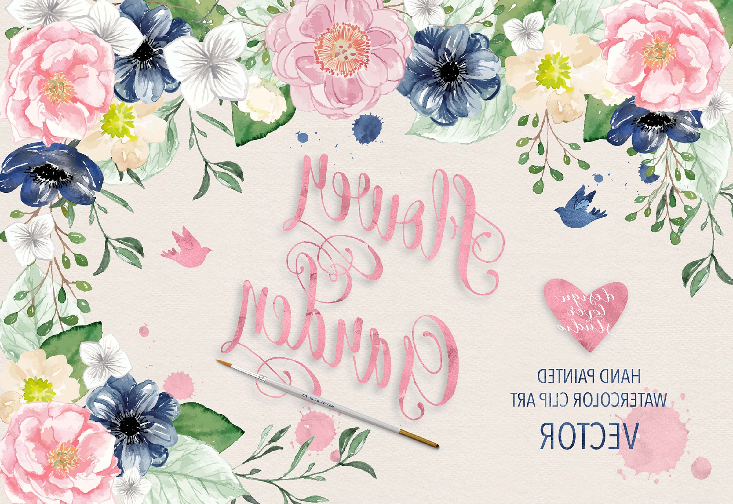2400x1650 Vector Watercolor Navy Blue And Pink Flower Garden Clipart