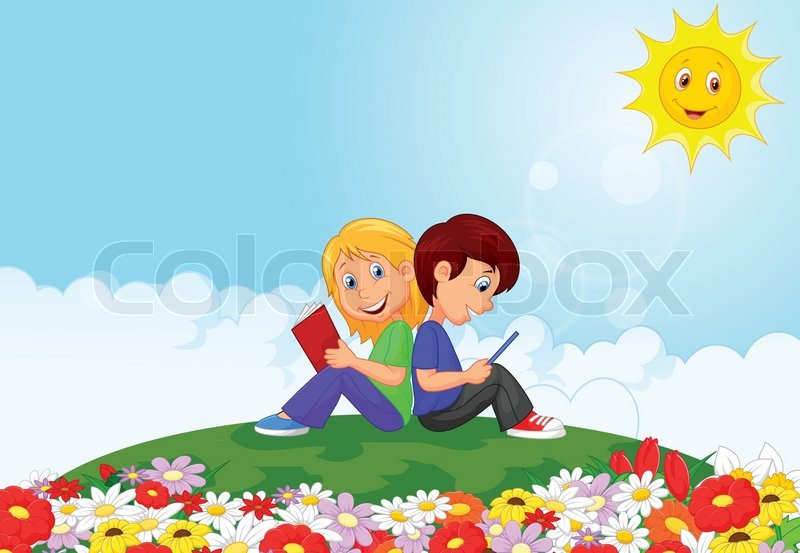 800x553 Vector Illustration Of Cartoon Boy And Girl Reading Book In The
