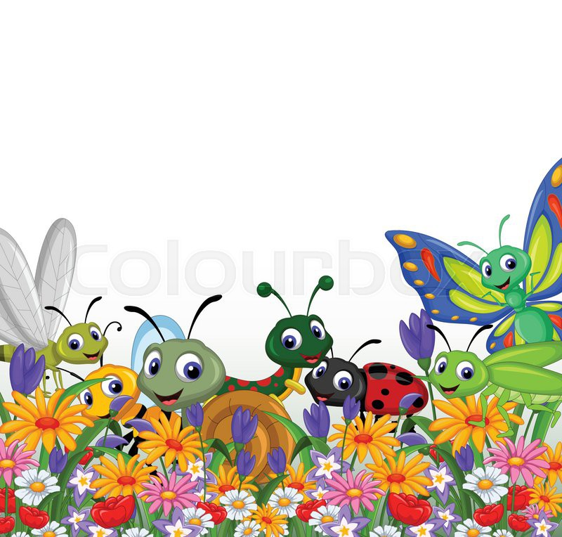 800x764 Vector Illustration Of Collection Of Insects In The Flower Garden