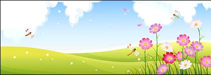 424x151 Dragonfly In Flower Garden Free Vector In Adobe Illustrator Ai