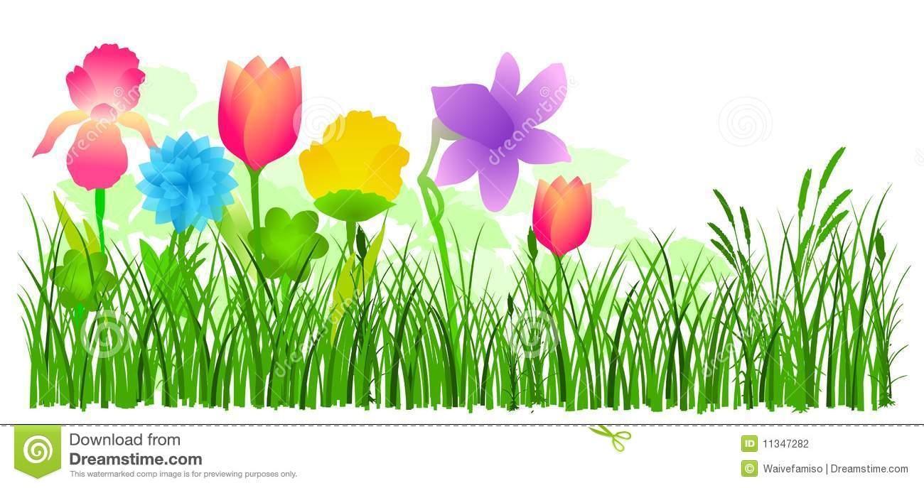 1300x687 Flower Garden Border Clip Art Fresh Flowers In Grass Vector Stock