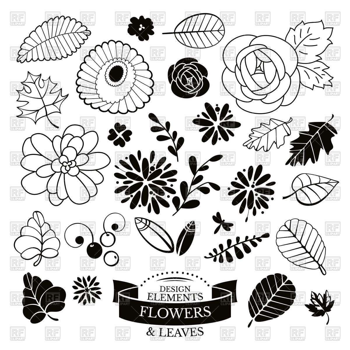 1200x1200 Outline Of Flowers And Leaves Vector Image Vector Artwork Of