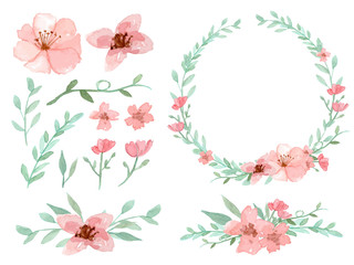 320x240 Set Of Flowers And Leaves Vector