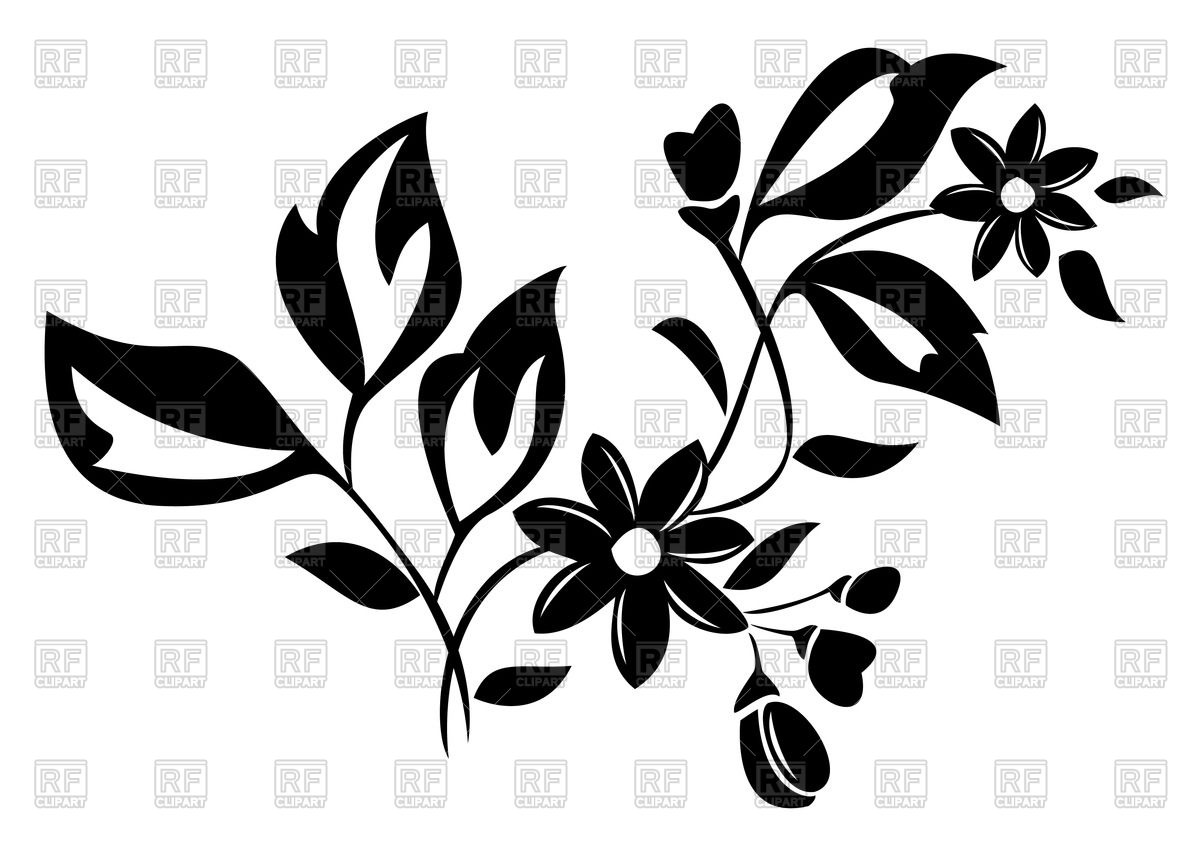 1200x863 Silhouette Of Flower With Leaves Vector Image Vector Artwork Of