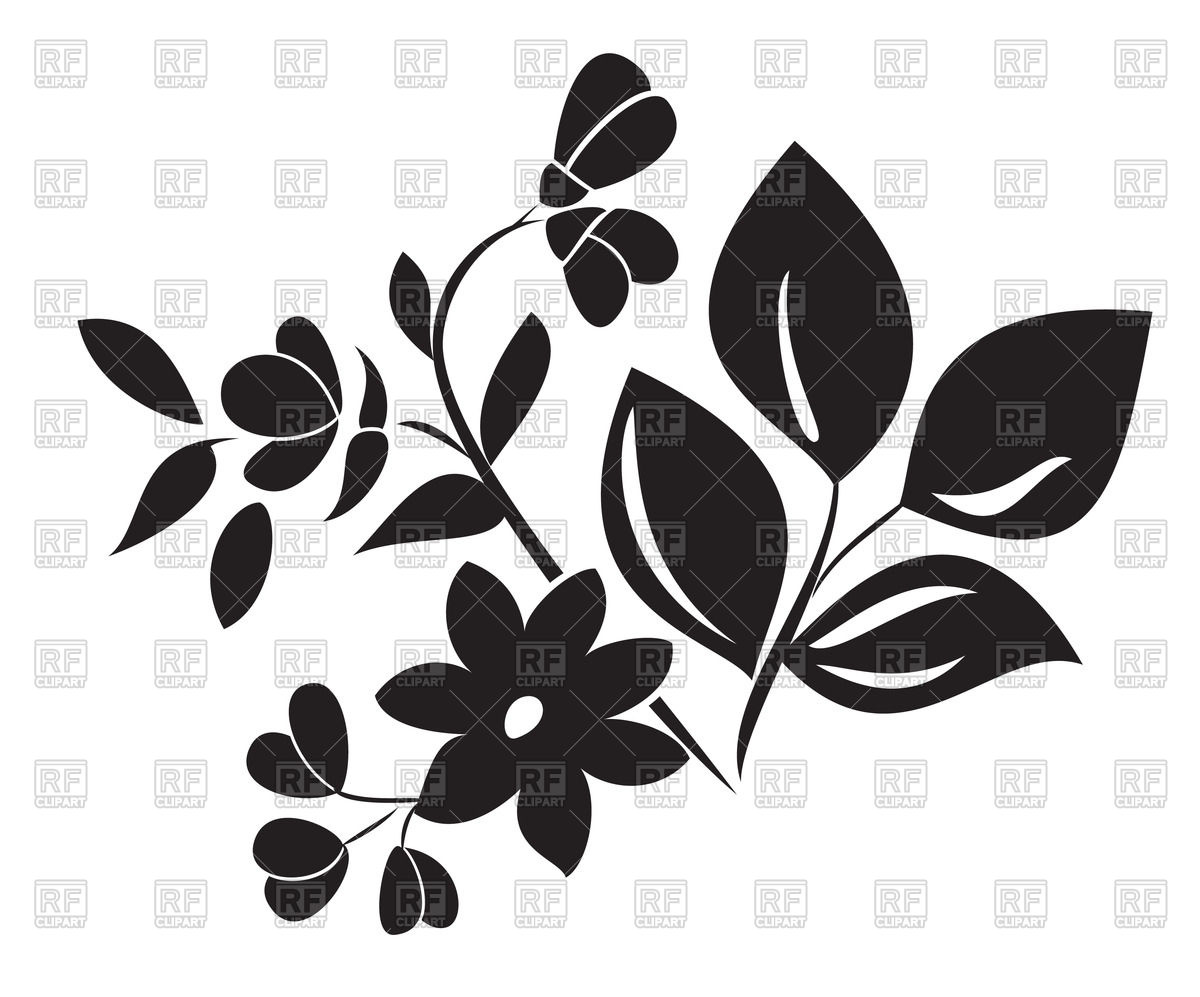1200x997 Silhouette Of Leaves And Flower Vector Image Vector Artwork Of