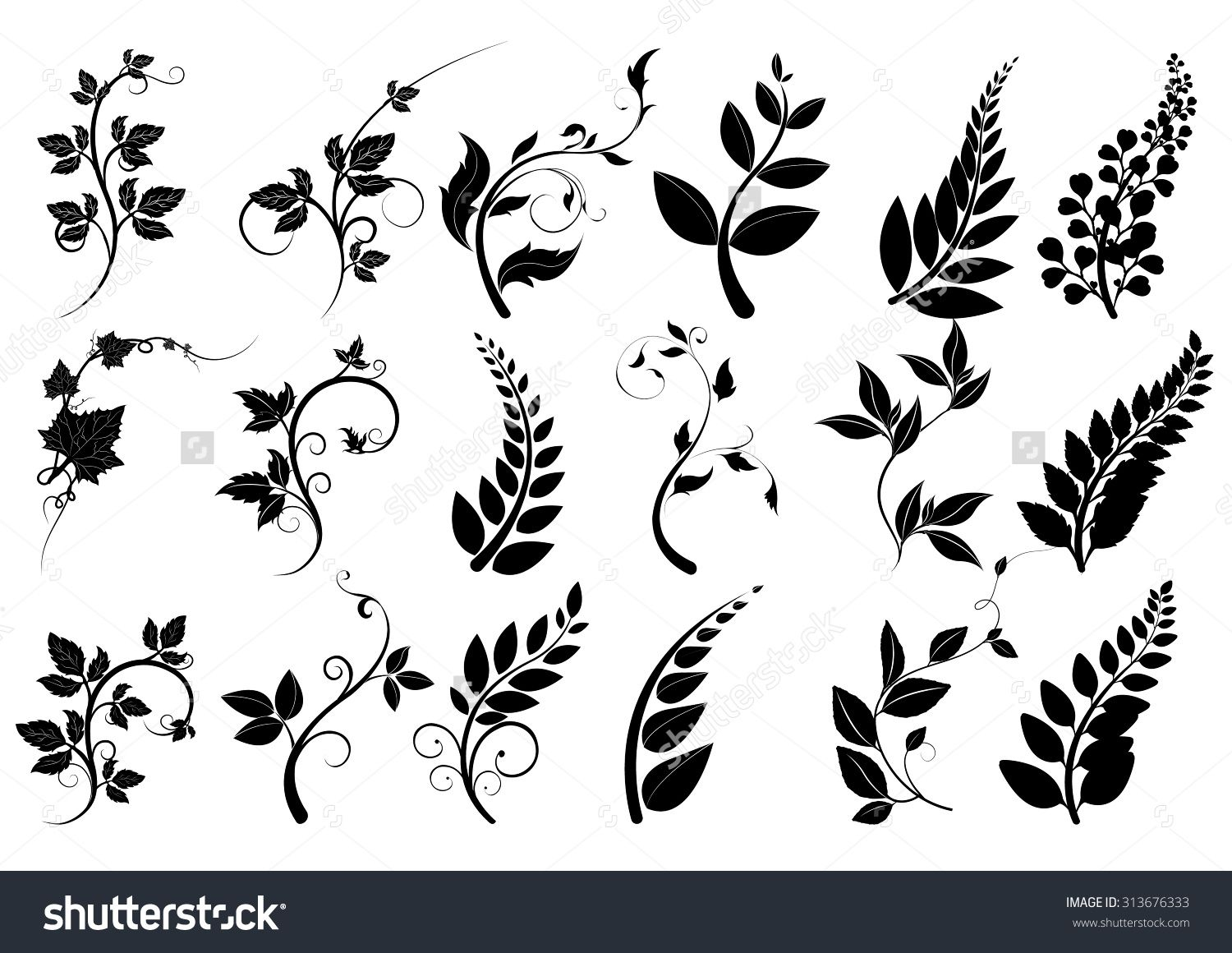 1500x1160 Silhouettes Of Trees,leaves Vector,line Borders, Text Dividers And