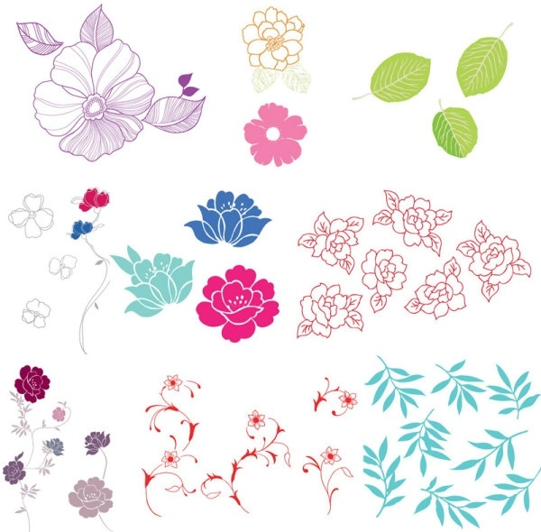 600x590 Simple Case Of A Variety Of Flowers Leaves Vector Free Vector In
