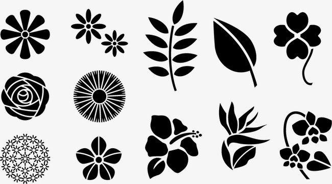650x360 Vector Black Flower Leaf Pattern, Black Vector, Flower Vector