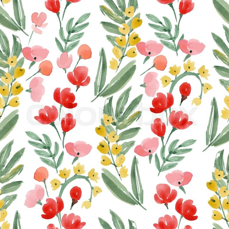 800x800 Vintage Watercolor Wallpaper Of Hand Drawn Flowers And Leaf