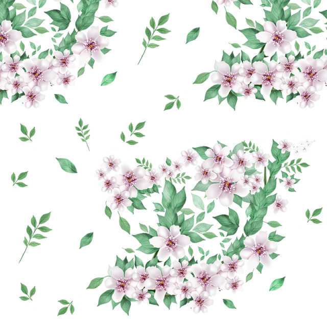 640x640 Beautiful Floral Flowers With Green Leaf Vector Png, Floral