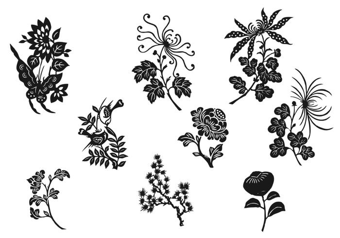700x490 Black And White Flower Vector Pack