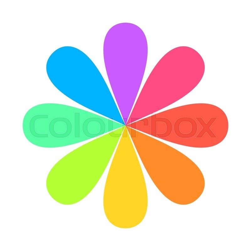 800x800 Abstract Geometric Rainbow Flower Logo. Vector Illustration