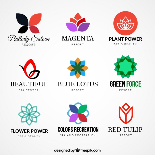 626x626 Variety Of Floral Logos Vector Free Download