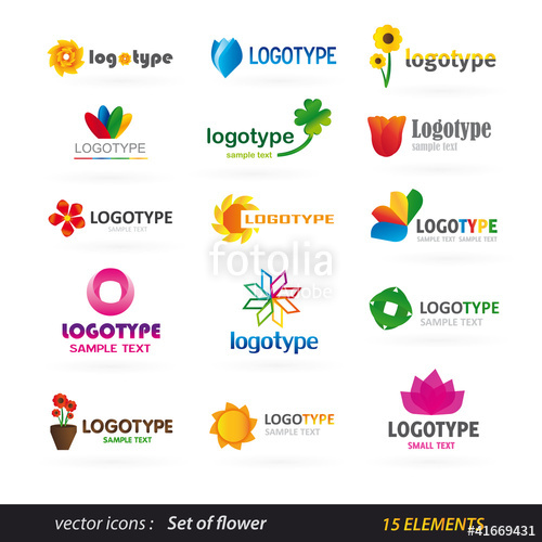 500x500 Flower Logo Set Stock Image And Royalty Free Vector Files On